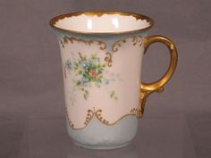 ANTIQUE JEAN POUYAT LIMOGES FRANCE DEMITASSE CUP EMBOSSED FLORAL W/ GOLD ACCENTS uk.picclick.com
