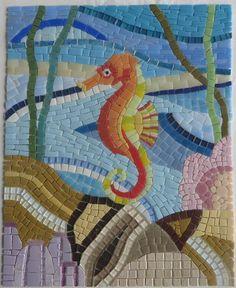 Mosaic Tile Designs, Mosaic Tile Art, Mosaic Crafts, Mosaic Projects, Mosaic Patterns, Mosaic Tray, Sea Glass Mosaic, Seahorse Art, Seahorses