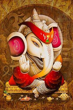 Ads Art Poster Wall decorative and Personalise Greeting cards Clay Ganesha, Ganesha Art, Ganesha Drawing, Ganesha Painting, Ganesha Pictures, Ganesh Images, Ganesh Lord, Lord Krishna, Grafic Art
