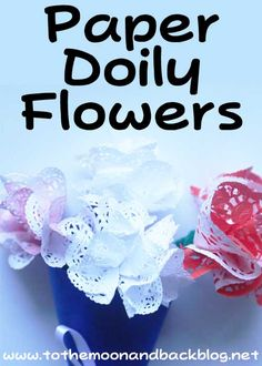 """These paper doily flowers look so pretty and are very easy to create. They also make wonderful gifts for those special people in your life. To make these paper doily flowers, you will need: Paper doilies – The white ones I used were 5"""" (12.5cm) and the red ones were 16cm Green pipe cleaners Scissors …"""