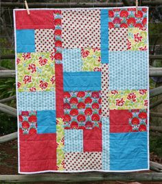 A quick and easy baby, cot or lap quilt tutorial. Finished Size 86 x 107 cm (34 x 42 inches) You will need: 6 fat quarters (a fat quarter ...