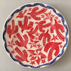'Festival Birds' plate by Vicky Lindo & Bill Brookes