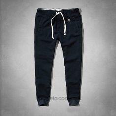 купить Мужские спортивные штаны с манжетами ABERCROMBIE & FITCH темно-синие
