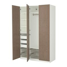 lots of space and customizable wardrobes at ikea... can decorate doors of wardrobe with no fear :).  stick a mirror on one door.