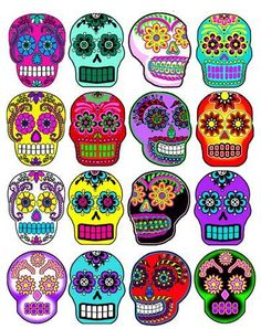 Day of the Dead Halloween 16 sugar skull flowers stickers