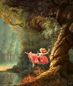"""Adorable illustration of Rapunzel inspired by Fragonard's """"The Swing"""" .. This is soo cute!"""