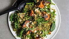 Pesto cous cous with maple roasted pumpkin and almond Roasted Carrot Salad, Roasted Carrots, Lamb Ribs, Roast Pumpkin, Most Popular Recipes, Salad Ingredients, Summer Recipes, Pesto, Food Processor Recipes