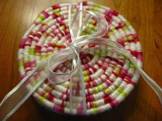 Set of 4 coasters Made from natural jute and yarn by TundraTalents, $24.00