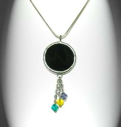 Black Stained Glass Pendant With Swarovski Crystals by AfricanSand, $35.00