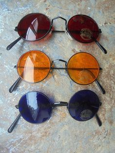Lot Of 3 Sunglasses rare 70s Style With Round Lenses Hippie Goa Glasses 60s