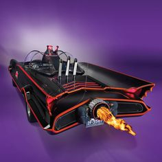 Authentic, custom 1966 Batmobile Replica, rear-view. Though equipped with neither atomic batteries for power nor turbines for speed, a rear-facing propane tank creates the same afterburner effect as the original.