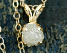 Rough Diamond in 14k Yellow Gold Necklace. $370.00, via Etsy.