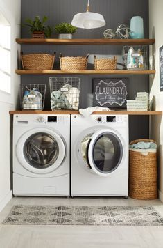 9 Steps to a Perfectly Organized Linen Closet Incorporate Decorati. - 9 Steps to a Perfectly Organized Linen Closet Incorporate Decorative Baskets - Modern Laundry Rooms, Laundry Room Layouts, Laundry Room Remodel, Laundry Room Design, Laundry In Bathroom, Basement Laundry, Laundry Shelves, Laundry Decor, Laundry Room Small
