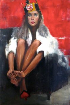 art-of-darkness: Pascale Taurua — Couronne's Feet, 2014. Painting: oil and acrylic on canvas, 150 x 110 cm. Female Portraits/Impressionism/Contemporary Figurative Art