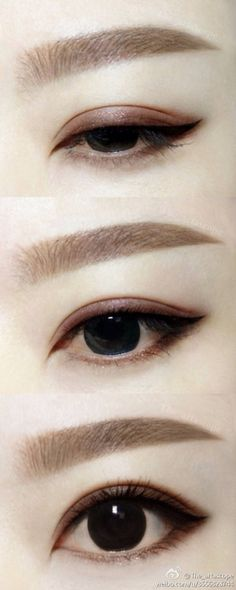 Pretty Chocolate shimmer smoke liner with blk wing for Asian eyes.
