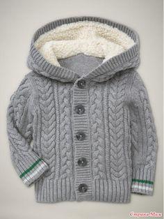 Stricken Anleitung :Dit bericht is ontdekt door Ly Crochet Baby Cardigan, Knit Baby Sweaters, Boys Sweaters, Striped Sweaters, Baby Knitting Patterns, Knitting For Kids, Baby Outfits, Kids Outfits, Winter Baby Clothes