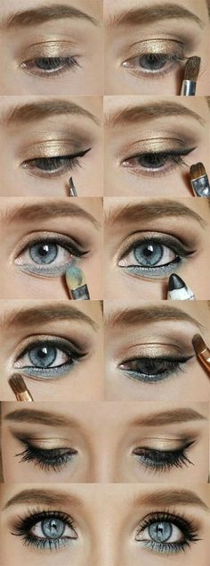 Gold and blue eyeshadow | eHow.  I would make this bronze and dark brown to match my eye color