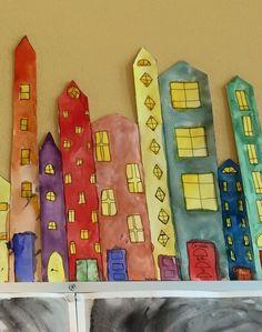 Värioppitalot. Kuusi taloa joka paperilla, ovet vastaväreillä. Kun on koko luokan työt vieri vieressä, on luokassa kaunis, värikäs koristus koko vuodeksi. Taidan antaa nämä kotiin vasta toukokuussa. Kuva ja vinkki: Sanna Lagerstedt