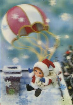 Vintage lenticular postcard of Santa's helper parachuting down to a roof