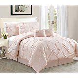 WPM 7 Piece Luxurious Pinch Pleat Decorative Pintuck Comforter Set - HIGHEST QUALITY, ALL SEASON Rose Bedding (Queen)