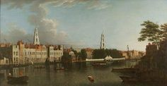 A view of the Savoy Palace, with Somerset House beyond c.1760 with the spires of St Mary-le-Strand & St Clement Danes
