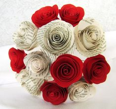 2 spiral book page roses with 2 spiral red roses by HBixbyArtworks