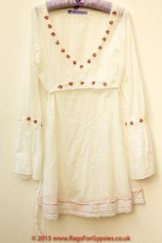 Rosebud and white cotton ladies tunic Gypsy Boho by RagsForGypsies