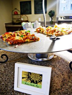 Gourmet Pizza station is perfect idea for an engagement party!- B. Lovely Events