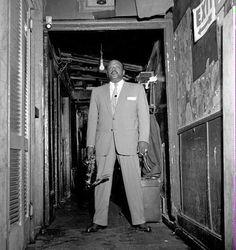 Ben Webster backstage at Birdland, by Herman Leonard 1950