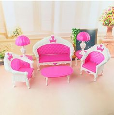 6pcs Mini Dollhouse Furniture Living Room Set Table and Chair for Barbie Dolls #Unbranded