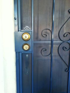 Yes you can paint your security screen door a lovely color! This made a lovely pop of blue for our porch without compromising safety.