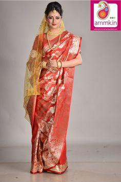 Red color - golden zari work - patli pallu - designer benarasi saree - adi9724  #benarasisaree #saree #sarees #designersaree