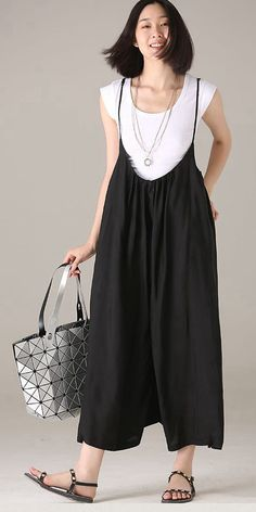Plus size wide leg overalls women casual clothes summer cozy in 2019 Dressy Casual Outfits, Casual Dresses, Casual Clothes, Overalls Women, Type Of Pants, Ankle Length Pants, Summer Pants, Pants For Women, Clothes For Women