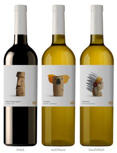 """""""Every country has something that distinguishes it from another country. With this in mind and the use of cork, Spanish design studio Lavernia & Cienfuegos designed a range of playful wine labels"""""""