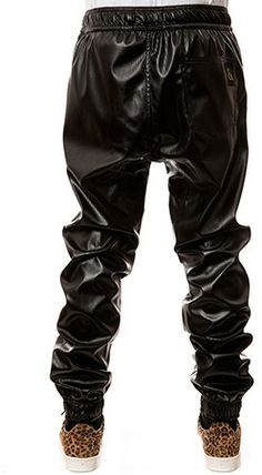 Seize&Desist The Rich Drop Crotch Jogger (Black Perforated Leather)