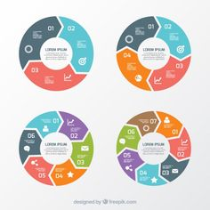 Variety of round charts Free Vector