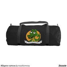 Alligator cartoon gym duffel bag