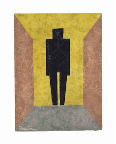 """'Figura en Negro' from """"Rufino Tamayo 15 aguafuertes"""" (1980) by Mexican artist Rufino Tamayo (1899-1991). Etching in colors, edition of 99, 29.8 x 22 in. via Mutual Art"""