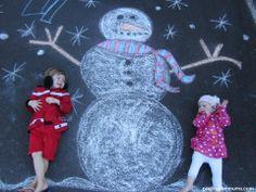 Great Christmas Card idea - using sidewalk chalk!!