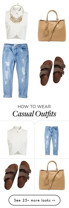"""""""Casual"""" by scarlettsolano on Polyvore featuring MANGO, Birkenstock, Miss Selfridge, Sole Society and Prada"""