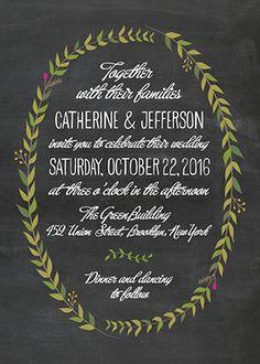 Chalkboard Wreath Wedding Invitation www.lovevsdesign.com
