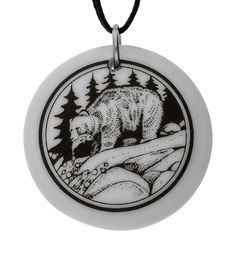 Handmade Grizzly Bear Totem Round Porcelain Pendant (on Black Cord). Hand Made. Approx. Pendant size : 3.1 centimetre in diameter. Length of rayon cord : 30 inch / 91.4 cm. Weight of the pendant : 6 grams.