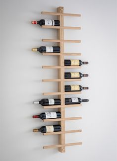 Woodstock Wine Rack at STORE. Stylish wall-mounted raw oak wine rack with space for 22 bottles of your favourite bott. Oak Wine Rack, Wine Rack Wall, Wine Wall, Wine Bottle Holders, Wooden Wine Racks, Wall Mounted Wine Racks, Wine Rack Design, Wine Rack Storage, Wine Bottle Storage