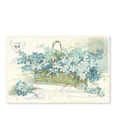Look at this #zulilyfind! Blue Floral Basket Place Mat - Set of 24 #zulilyfinds