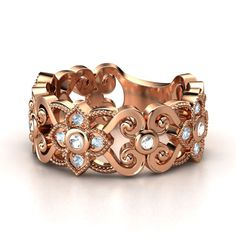 14K Rose Gold Ring with Rock Crystal & Aquamarine - Spanish Lace Band