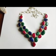 Certified 170cts Emerald,Sapphire,Ruby Necklace Certified Graduate Gemologist J.E.M 170.+Carats  Ruby,Sapphire,Emerald  Sterling Silver Necklace.                                  This is Statement Necklace for sure Jewelry Necklaces