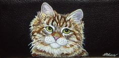 Siberian Cat Custom Painted Leather by daniellesoriginals on Etsy, $18.95