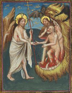 """""""Gesù salva le Anime dai tormenti dell'Inferno"""". Miniatura in tempera e oro dal """"Messale di Eberhard von Greiffenklau"""" composto a Utrecht nel 1446. Walters Art Museum, Baltimore, MD USA"""