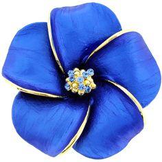 Blue Hawaiian Plumeria Swarovski Crystal Flower Pin Brooch and Pendant - Fantasyard Costume Jewelry & Accessories