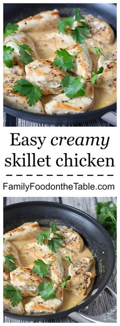 This creamy skillet chicken has a velvety smooth sauce from just 2 ingredients - a great, easy weeknight dinner!